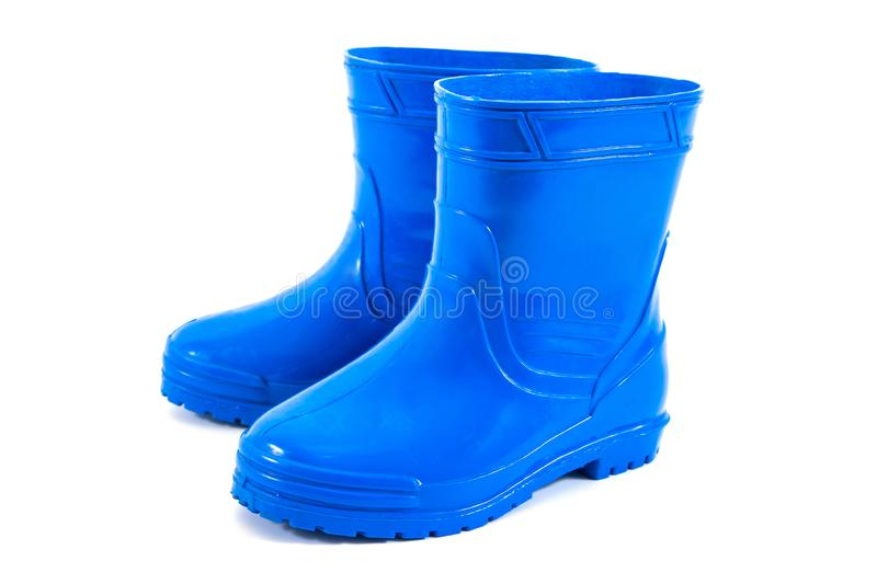 Kids rubber boots isolated on white background. Children gumboots isolated stock photo