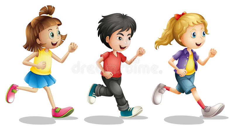 Kids running royalty free illustration