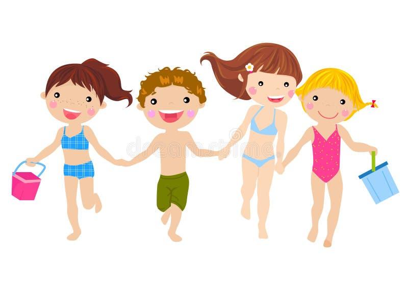 Kids running on the beach stock illustration