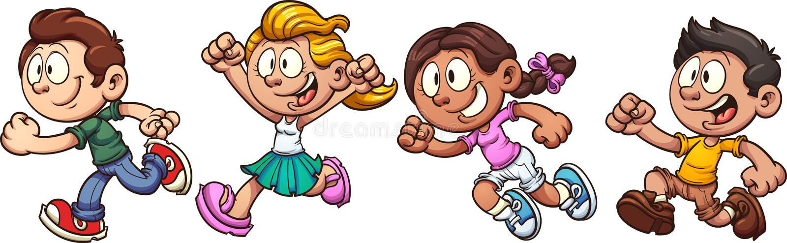 Kids running. Cartoon kids running. Vector clip art illustration with simple gradients. Each on a separate layer