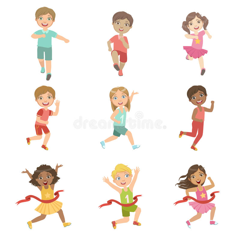 Kids In Running Competition Set. Of Cute Big-eyed Characters Flat Vector Illustrations On White Background vector illustration