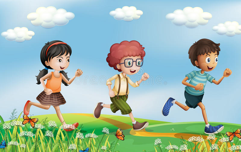 Kids running at the hills. Illustration of the kids running at the hills stock illustration