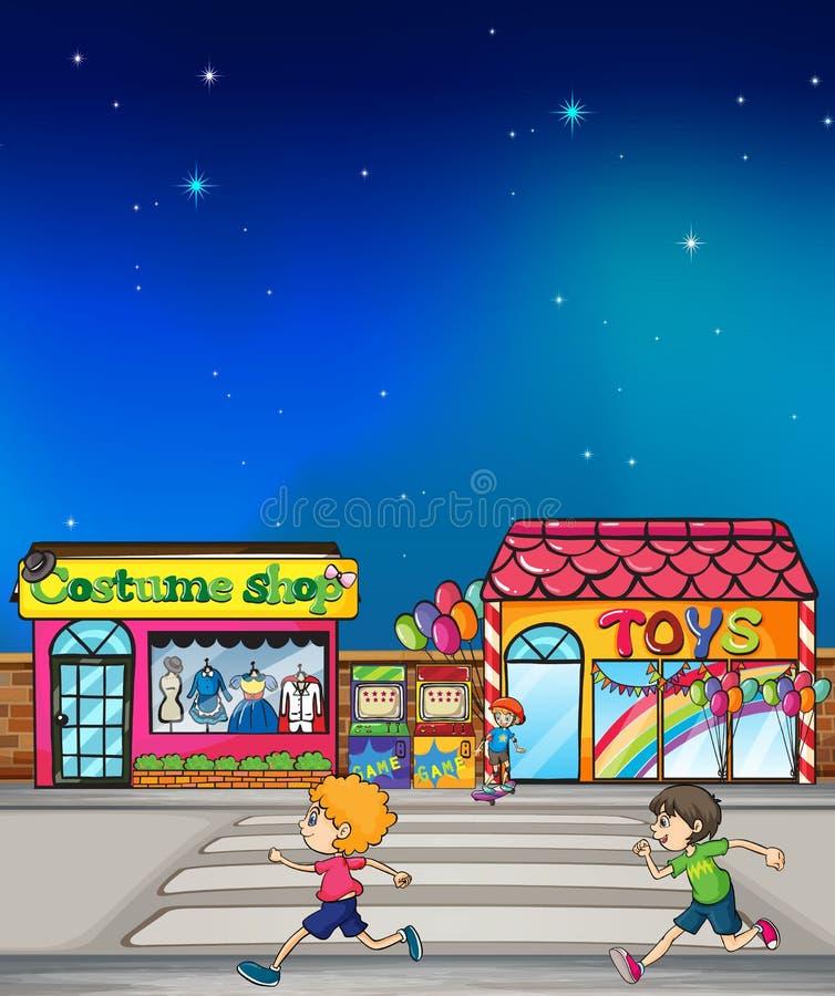 Kids running vector illustration