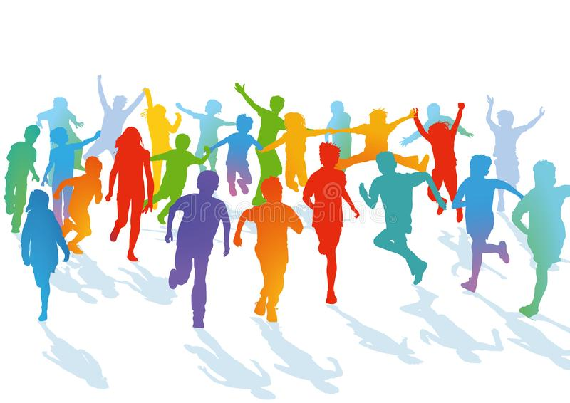 Kids running and jumping royalty free illustration
