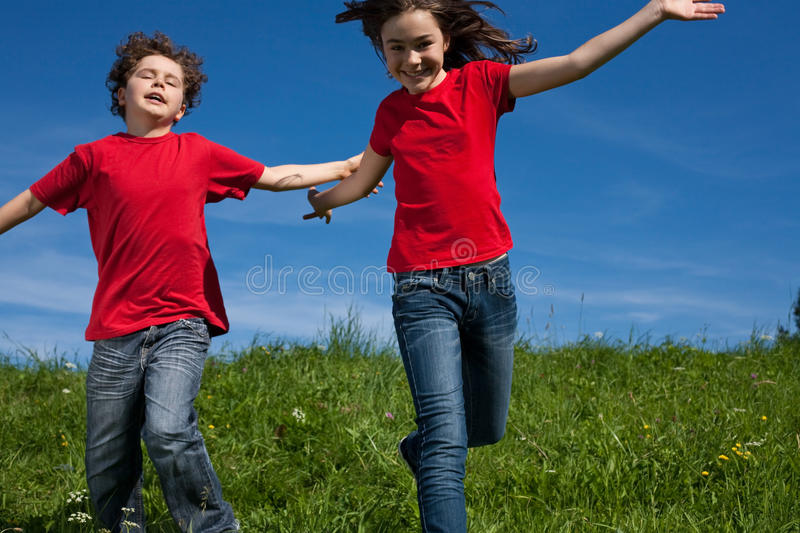 Download Kids running outdoor stock image. Image of leisure, health - 10985173