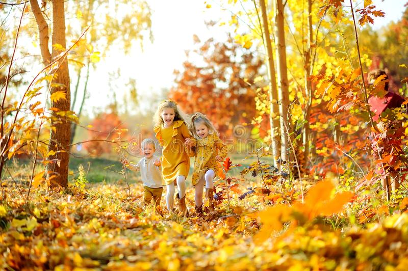 Kids running and playing in a beautiful autumn park royalty free stock image
