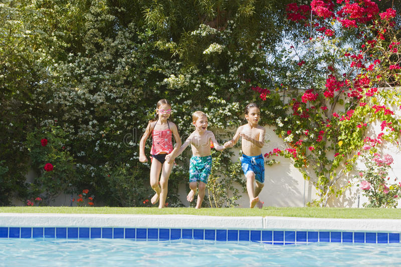 Download Kids Running Toward Swimming Pool Stock Image - Image: 29662639