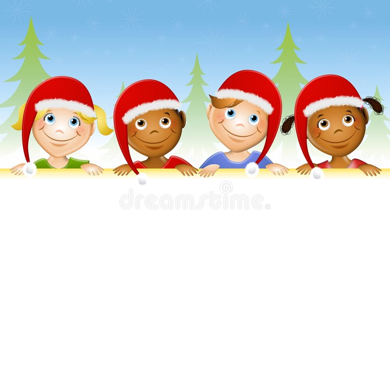 Kids In Santa Hats Border. An illustration featuring a row of kids in Santa hats looking over the edge of a border royalty free illustration