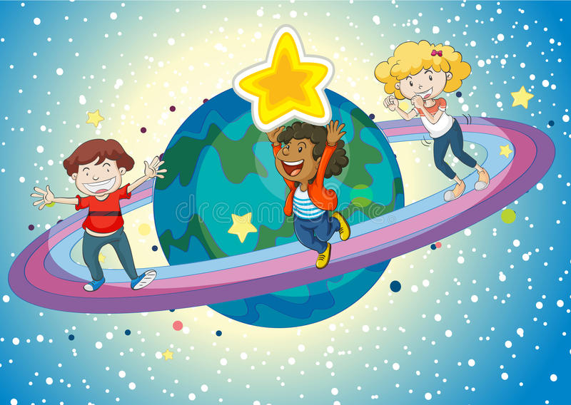 Kids on a saturn. Illustration of kids on planet saturn and rings stock illustration