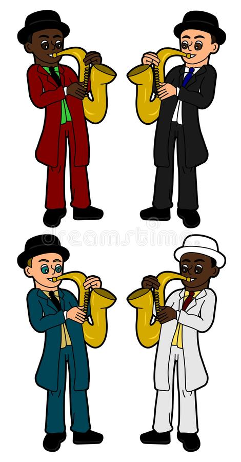Kids saxophonists collection royalty free stock photo