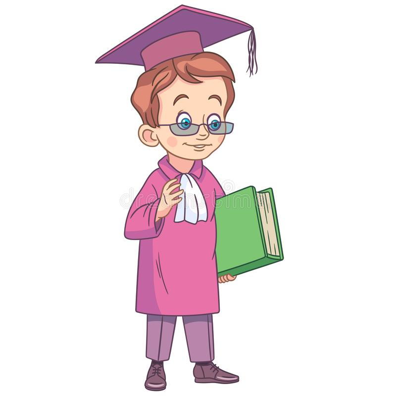 Cartoon boy graduating high school vector illustration