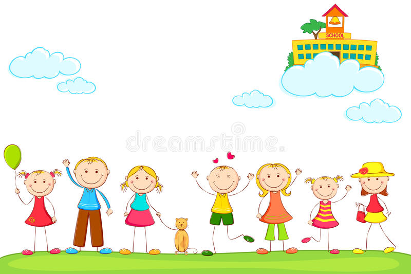 Download Kids with School on Cloud stock vector. Illustration of people - 25935998