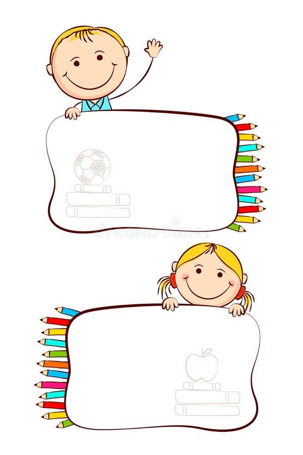Kids with School Label. Illustration of kids with crayon in school label sticker stock illustration
