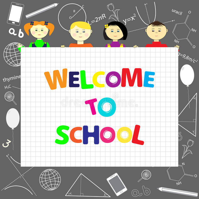 Kids at the school royalty free illustration