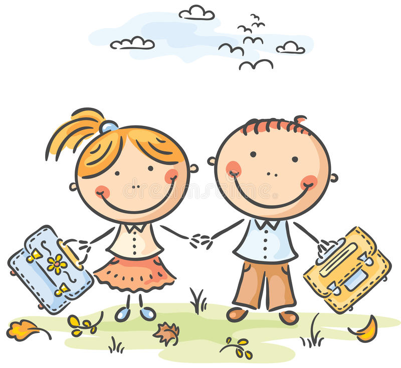 Kids with schoolbags royalty free illustration