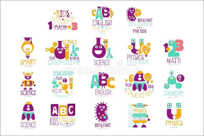 Kids Science Education Extra Curriculum Club Logo Templates In Colorful Cartoon Style With Smiling Characters. Set Of Vector Prints With Study And School vector illustration