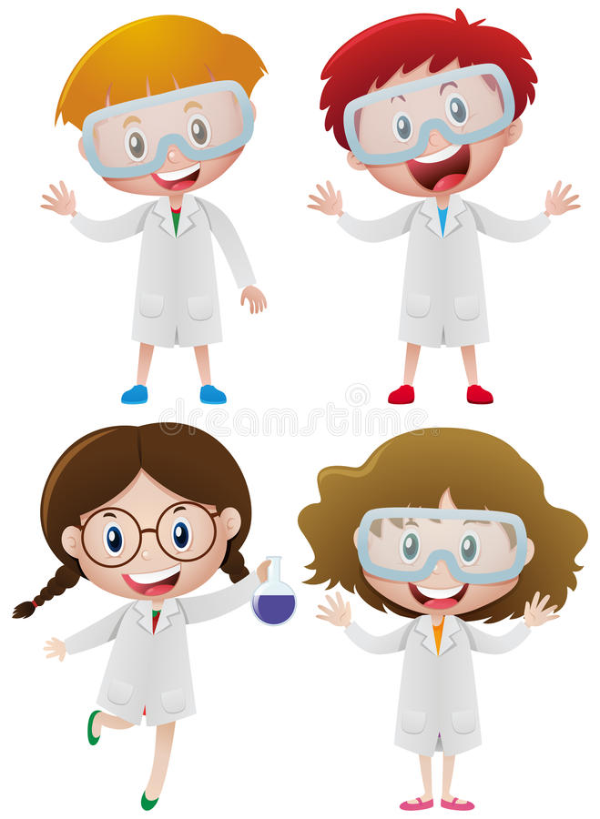 Kids in science gown and goggles stock illustration