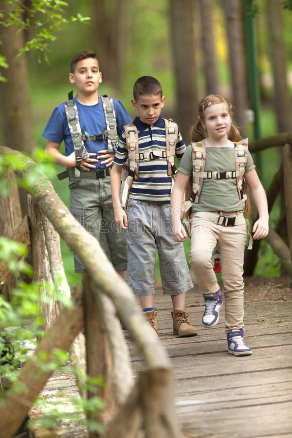 Kids scouts traveler with backpack hiking bridge in forest. Boys and girl go hiking with backpacks on forest road stock photography