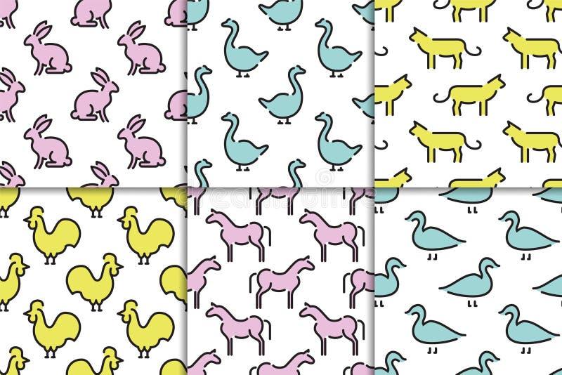 Kids seamless pattern animals stock illustration