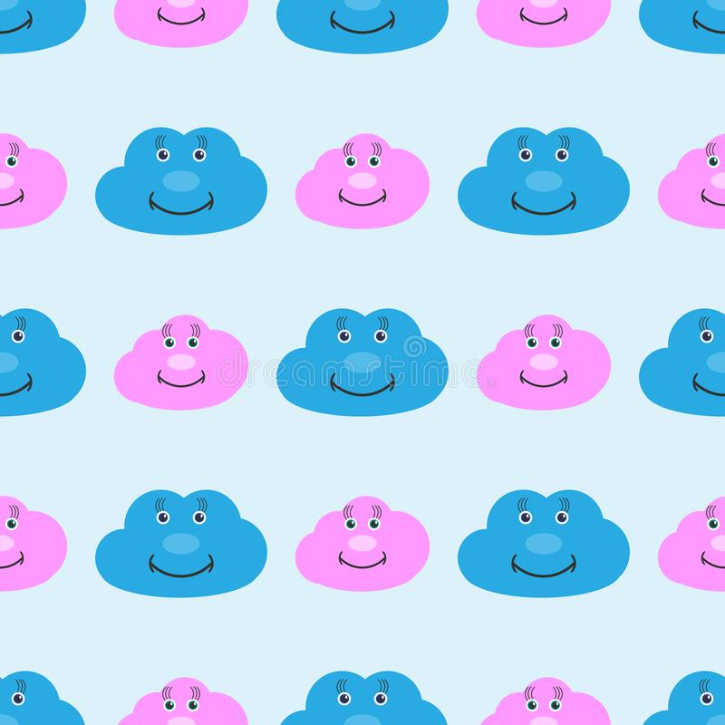 Kids seamless pattern with cute smiling clouds. Funny print for children. Vector illustration. Kids seamless pattern with cute smiling clouds. Funny print for vector illustration