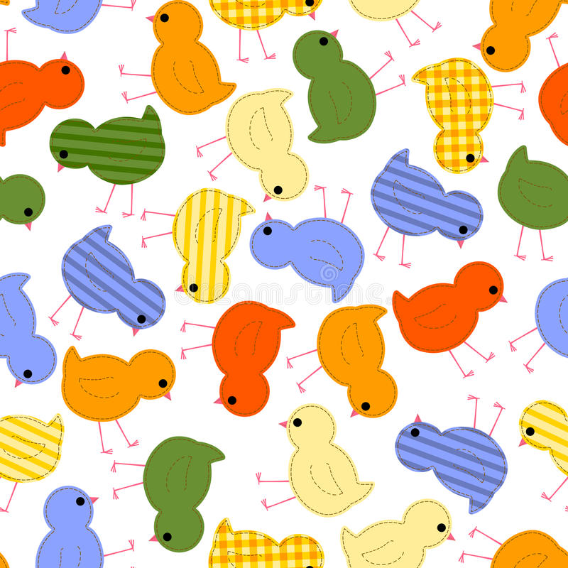 Kids seamless pattern with multi-colored chickens vector illustration