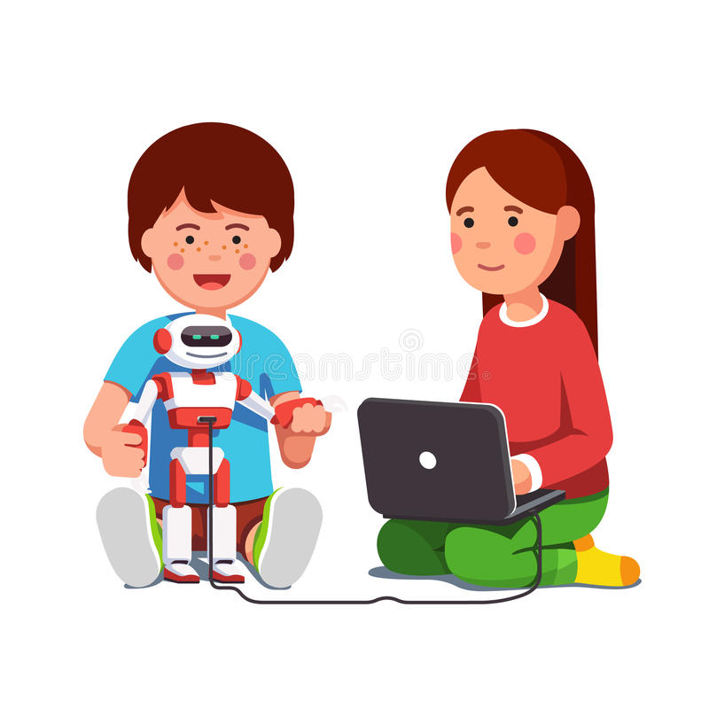 Kids setting up robot connected to laptop computer royalty free illustration