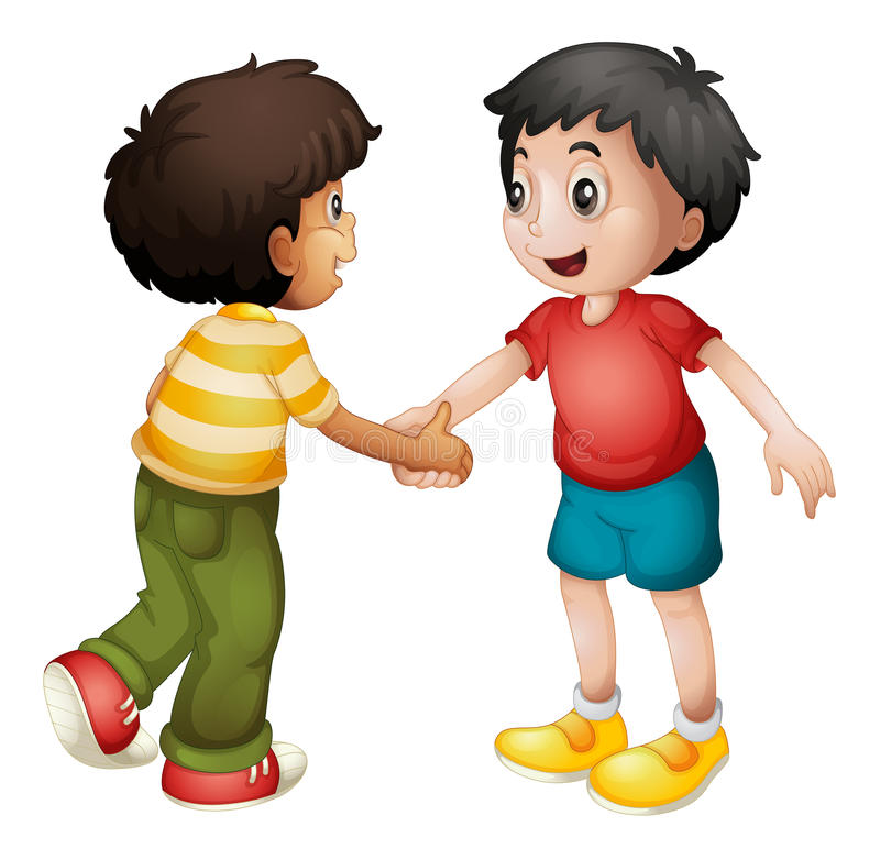 Kids shaking hands vector illustration