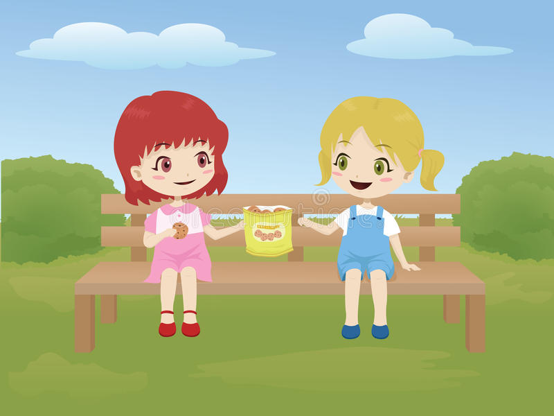 Kids sharing food in the park stock illustration
