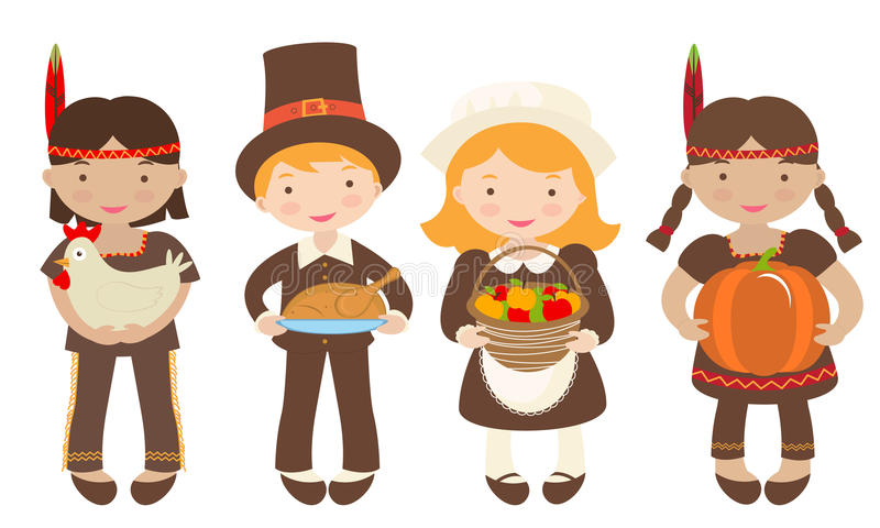 Download Kids Sharing Food For Thanksgiving Stock Vector - Illustration of holiday, character: 26529173