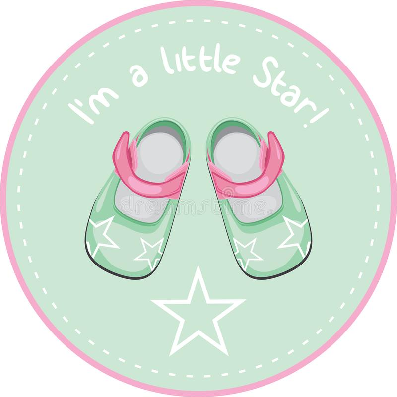 Kids shoes. Sticker for design royalty free stock photography