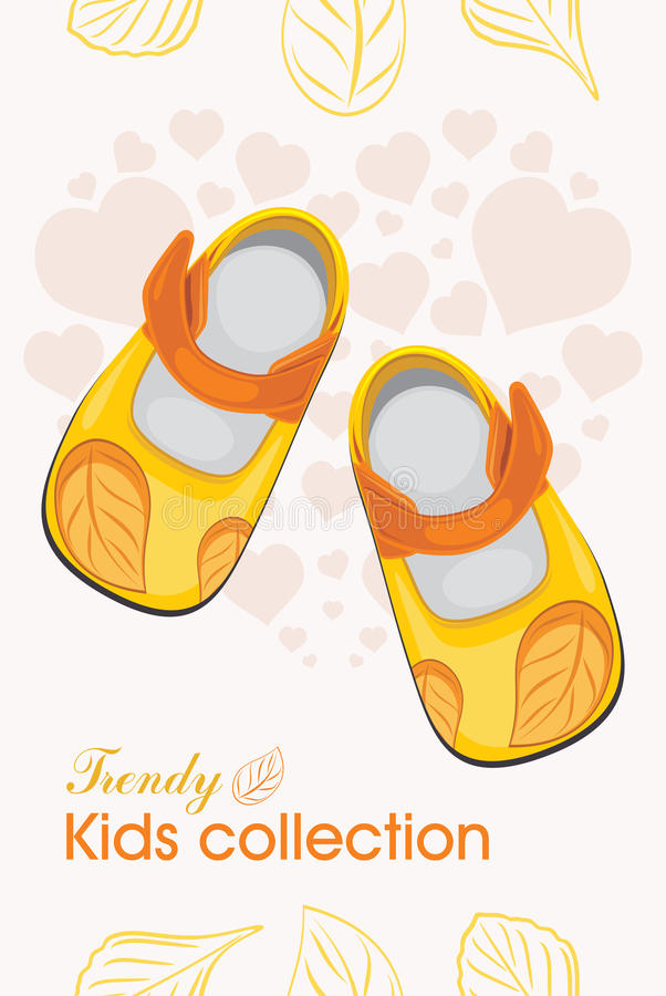 Kids shoes. Trendy collection. Label for design stock image