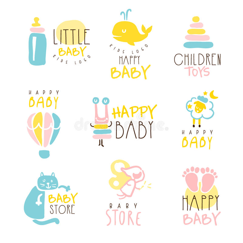 Kids Shop Promo Signs Series Of Colorful Vector Design Templates With Outlined Childish Toy Silhouettes. Baby Toys And Product Store Labels In Flat Bright royalty free illustration