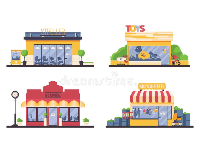 Kids shop store front collection. Vector flat set with shops for families and kids like furniture boutique, clothes, toys, strolle stock illustration
