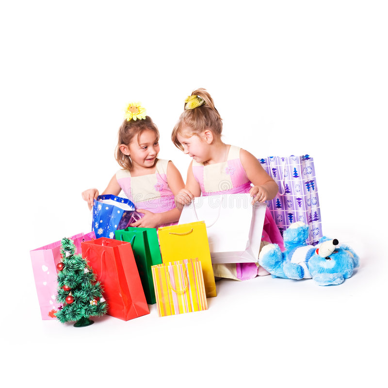 Kids shopping stock images