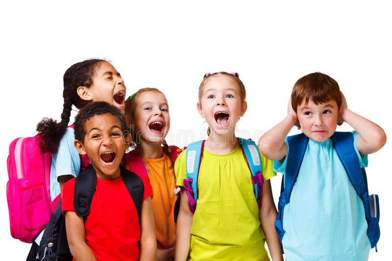 Kids shouting. Kids group in colorful t-shirts shouting, isolated