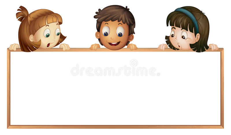 Kids showing board stock illustration