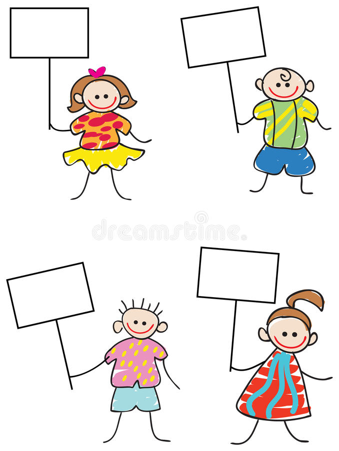 Kids with signs. Brush stroke line art kids with signs cartoon set royalty free illustration