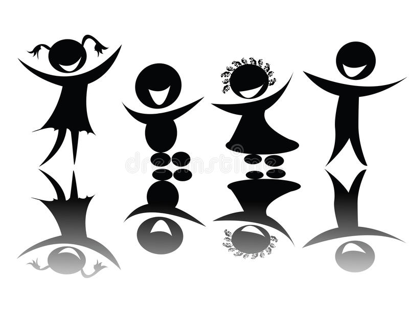 Download Kids Silhouette In Black And White Stock Illustration - Illustration of globe, illustration: 10914739