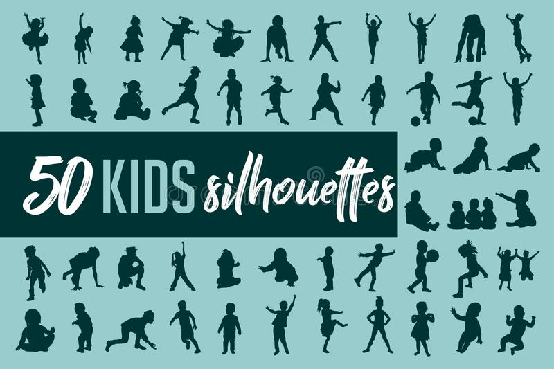 Kids silhouette collection vector. 50 Kids silhouette collection vector set. 50 different silhouettes in vector format vector illustration