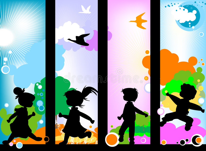 Kids silhouettes vector illustration