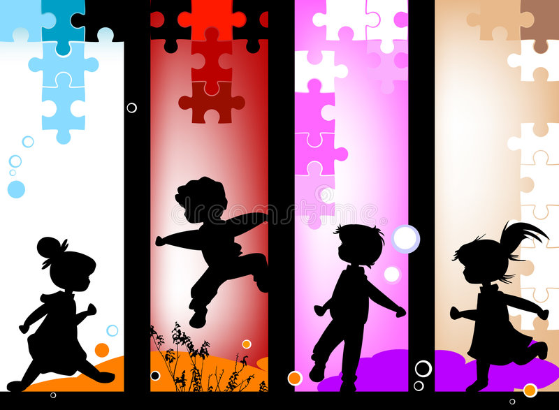 Download Kids silhouettes stock vector. Image of baby, active, grass - 4636331