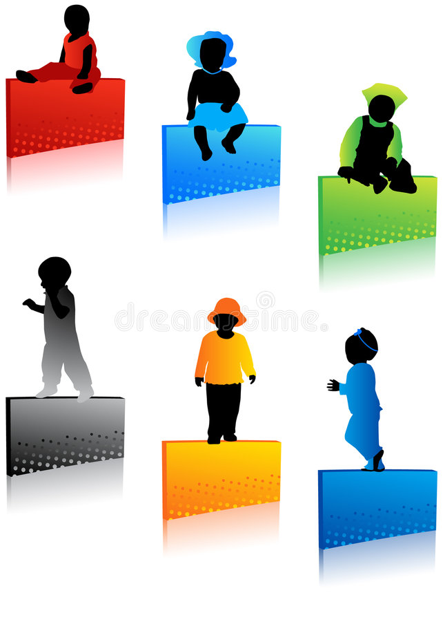 Kids silhouettes royalty free illustration
