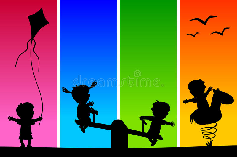 Kids Silhouettes At The Park [1] Stock Photos