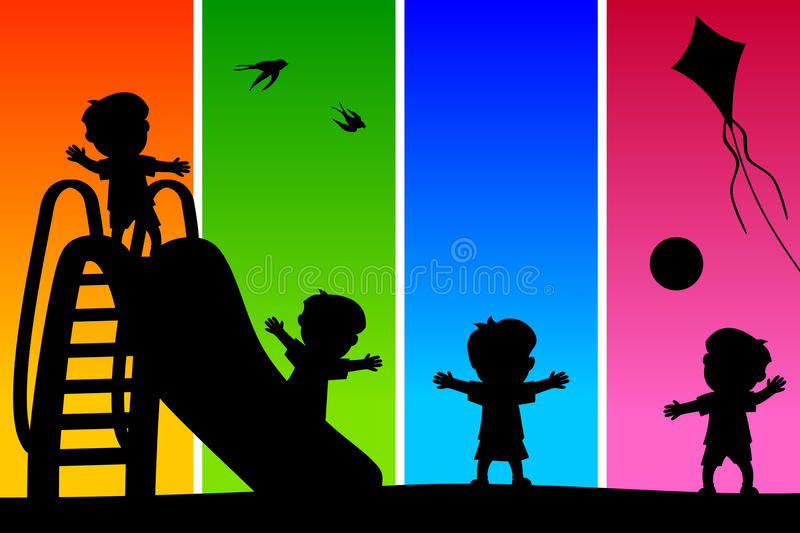 Download Kids Silhouettes At The Park [2] Stock Vector - Image: 28403285