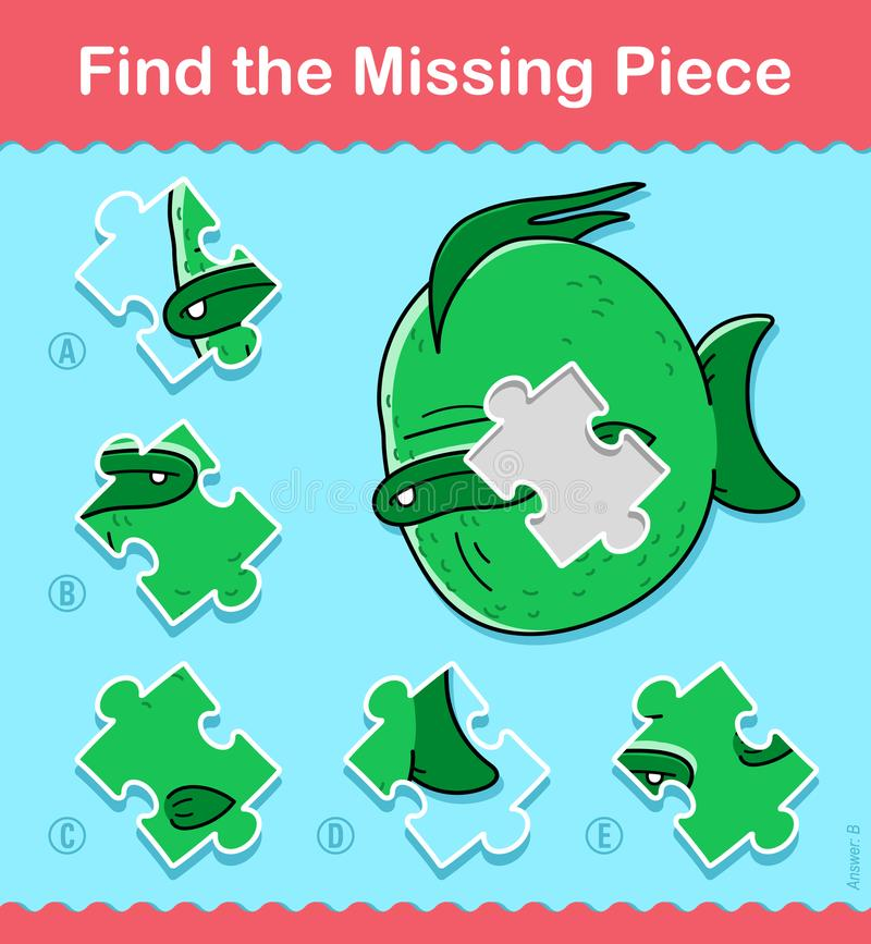 Kids cartoon fish Find The Missing Piece Puzzle royalty free illustration