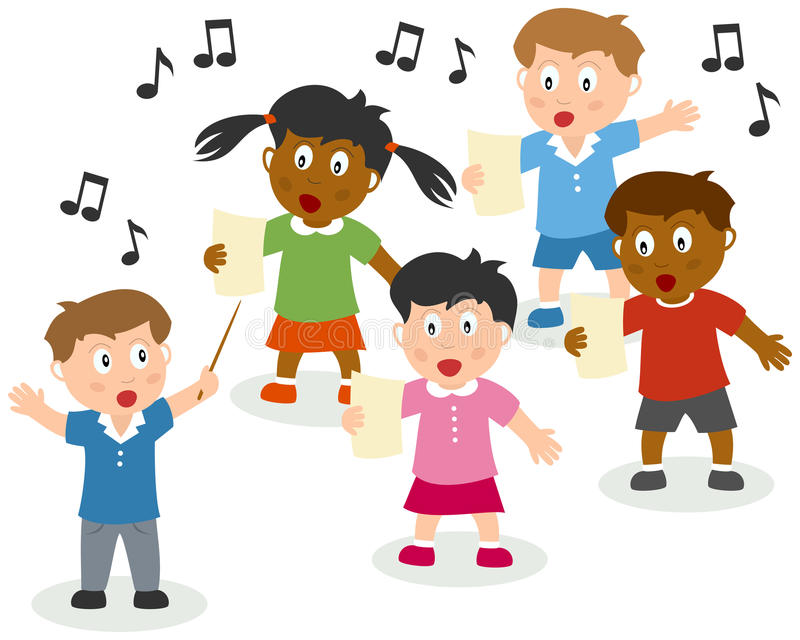 Kids Singing. Four cute kids singing with a choirmaster. Eps file available