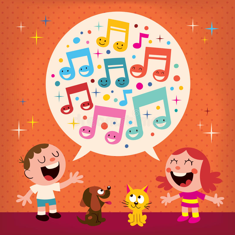 Download Kids singing stock vector. Image of cute, girl, little - 28345056