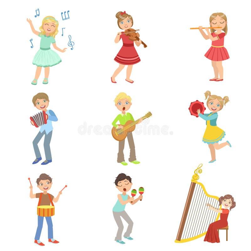 Kids Singing And Playing Music Instruments Set royalty free illustration