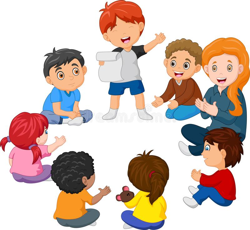 Kids Sitting in a Circle Reading a Poem royalty free illustration