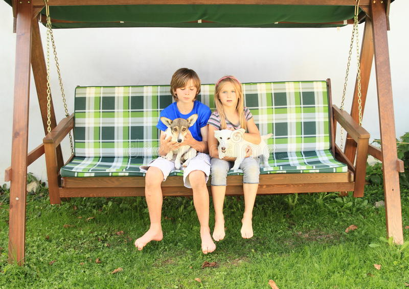 Kids sitting on a garden swing with dogs. Little boy and girl - kids sitting on a wooden garden swing with dogs on their laps stock images